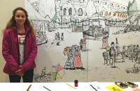 Mia Duić ispred svoga crteža