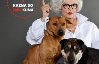 "Zvončica Vucković te psi Abbo i Lady Di na plakatima pod sloganom ""Tvoj izbor, tvoja odgovornost""."