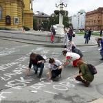 Na Trgu maršala Tita ispisana antifašistička poezija