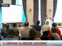 "Tribina ""U obrani slobode govora"" predstavnika neprofitnih medija, HND, 2016. (foto screenshot N1)"