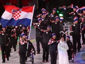 Svečanost otvaranja 13. zimskih Paraolimpijskih igara u Pjongčangu. Na slici hrvatska paraolimpijka Eva Goluža nosila je hrvatsku zastavu na ceremoniji otvaranja. foto HINA/ Damir SENČAR /ds