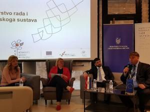 Sudionici prve panel rasprave: Margareta Mađerić (L), Katarina Ivanković Knežević,  Domagoj Trupeljak, Luka Bogdan. (foto: NZRCD)