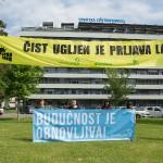 Ekološki aktivisti prosvjednom akcijom ispred HEP-a poručili da ne postoji prihvatljiva verzija elektrane na ugljen