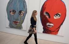 Izložba post-sovjetska sindikalna prosvjedna umjetnost uključujući i pripadnike prosvjedne skupine Pussy Riot, 2017., galerija Saatchi u Londonu, EPA