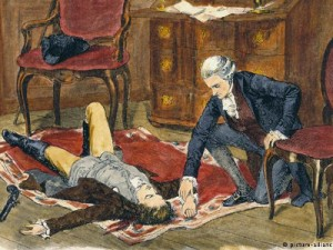"""Drvorez """"Medicus uz Wertherov leš"""" oko 1880. (monogram E.B., kasnije kolorirano)"""