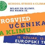 Mladi svijeta u petak na ulicama za klimu, u Zagrebu prosvjed na Europskom trgu
