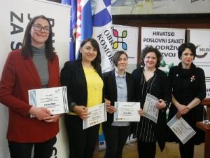 Dobitnice potpore programa Odvažna: Jelena Bikić, Nikolina Belančić Arki, Diana Bekavac, Petra Glad i Tamara Jurković, foto: Ranko Šuvar / CROPIX