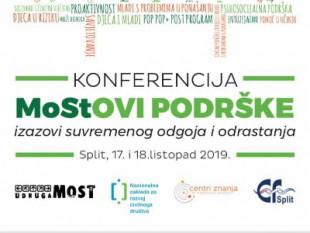 """Poziv na konferenciju """"MoStOVI PODRŠKE – izazovi suvremenog odgoja i odrastanja"""""""