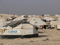 November 16, 2016. Tents in Al Hol camp, northeast Syria. The dusty camp has seen an influx of refugees from Iraq since the offensive on Mosul was declared on October 17, 2016. Save the Children and other NGOs, as well as the UNHCR, are racing against the clock to improve facilities at the camp as winter closes in.