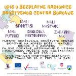 Otvoren upis na besplatne radionice Društvenog centra Borovje