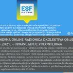 Otvorene prijave na dvodnevnu online radionica: Upravljanje volonterima