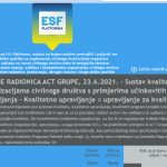 Online radionica: Sustav kvalitete u organizacijama civilnoga društva s primjerima učinkovitih modela upravljanja